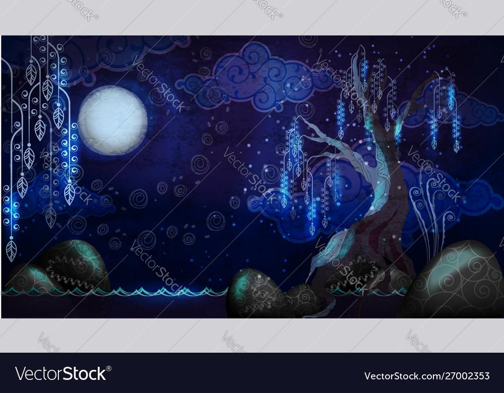 Cartoon seascape with moon and tree
