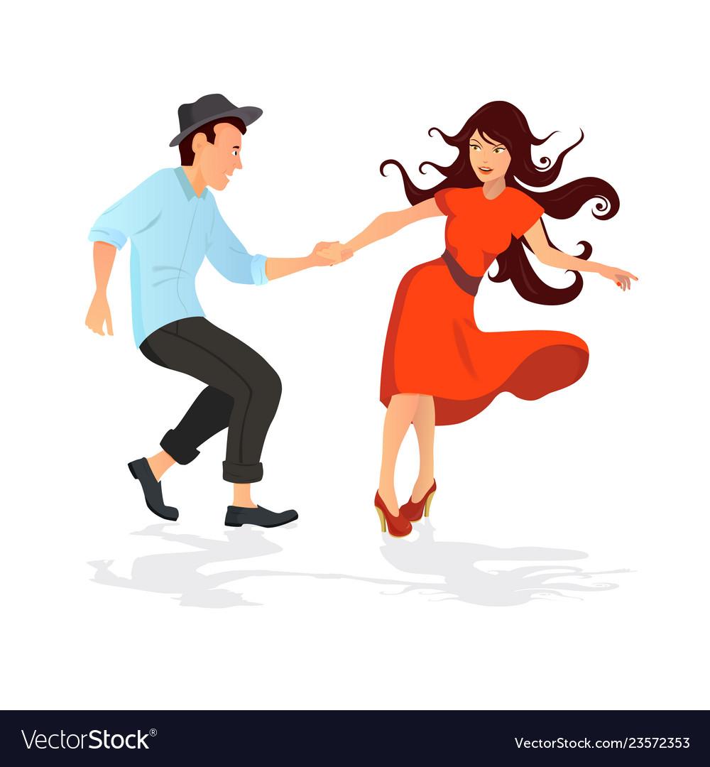 Couple dancing swing rock or lindy hop