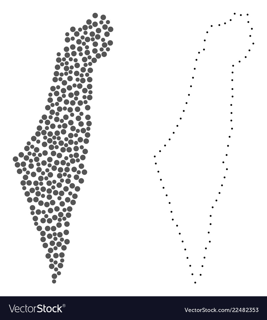Dot contour map of israel