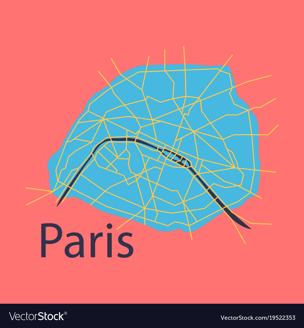 flat urban city map of paris france vector image