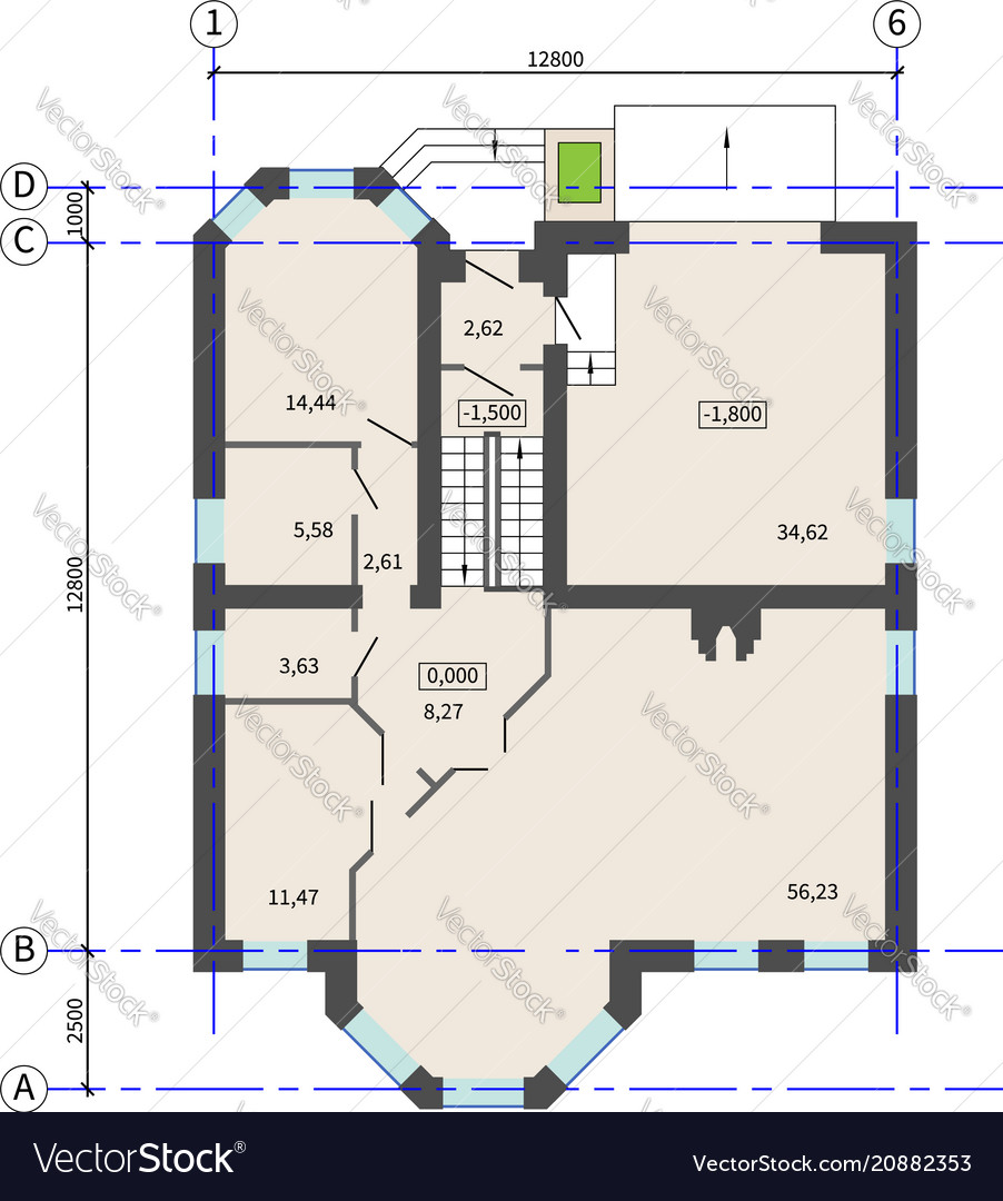 Floor plan of a house architectural background vector image