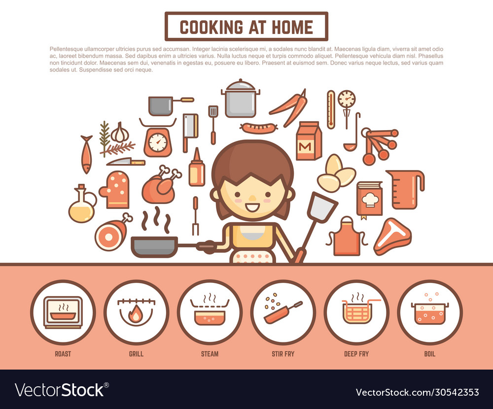 Home Cooking Banner Background Cute Outline Vector Image