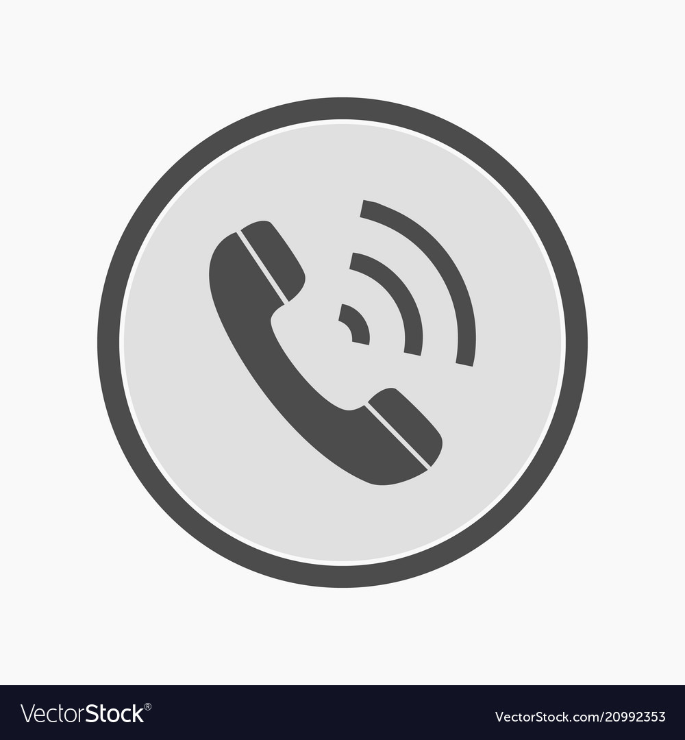 Icon of telephone handset over black circle