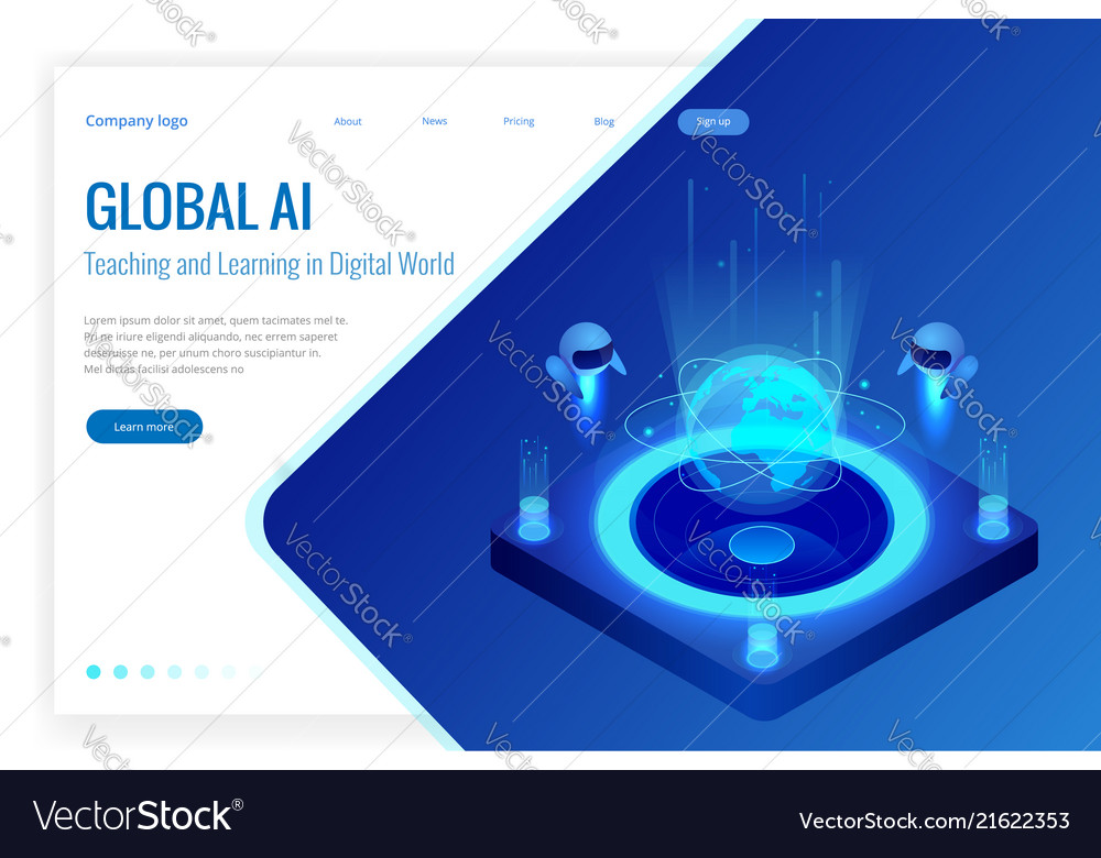 Isometric artificial intelligence concept