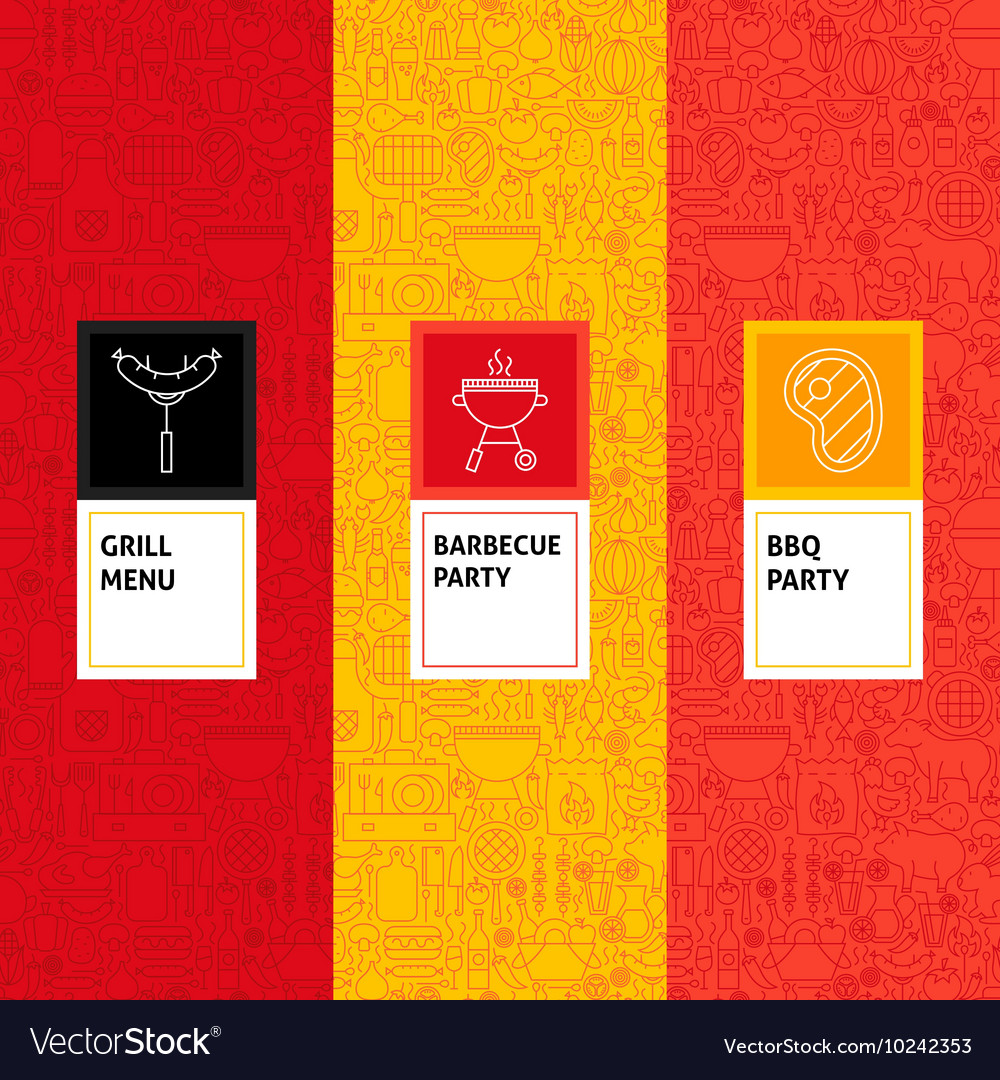 Line Barbecue Patterns Set vector image