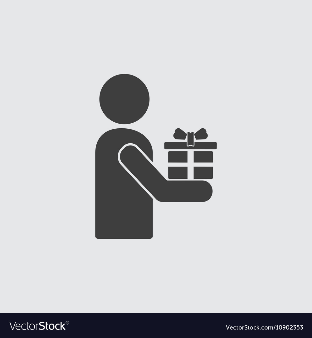 Man with gift icon