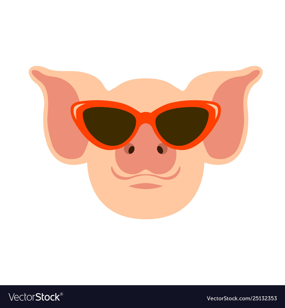 Pig in glasses face flat