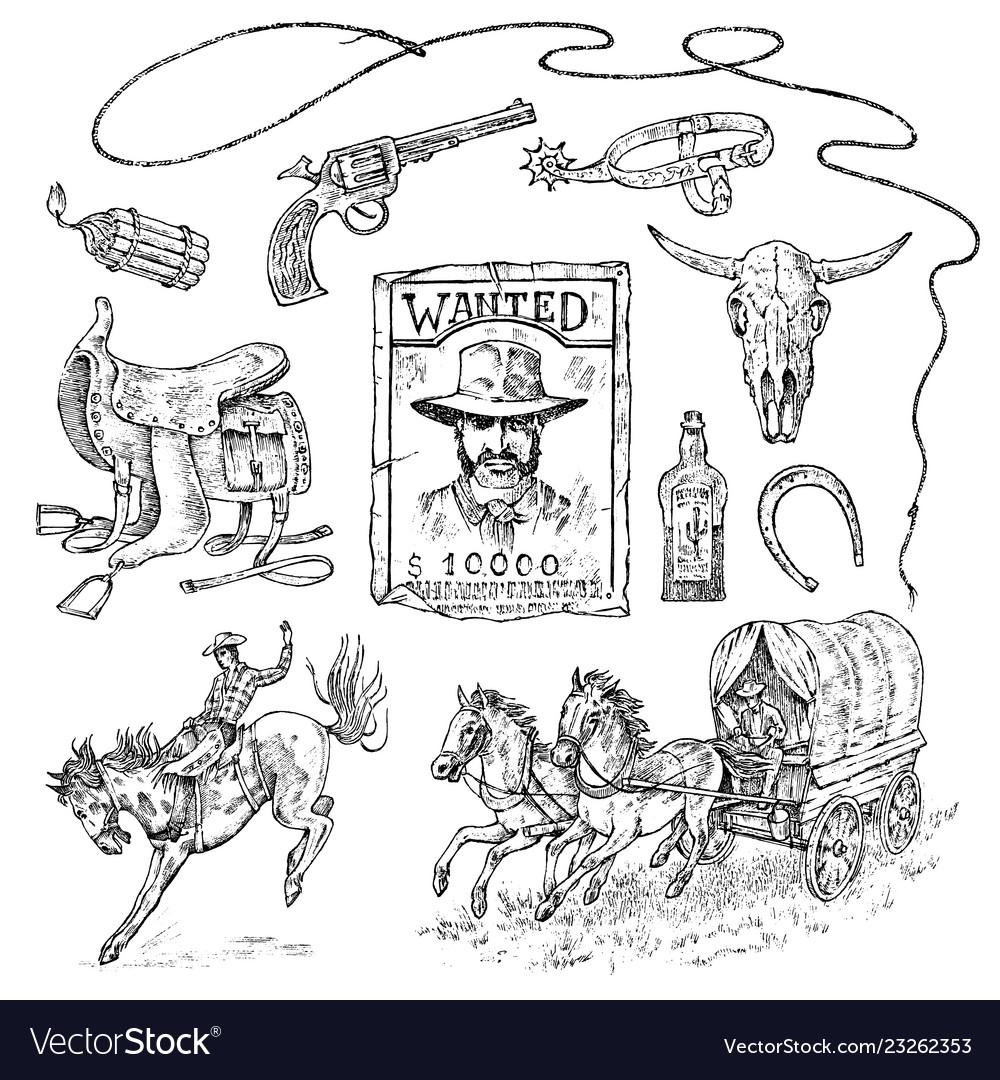 Set of cowboys western icons texas ranger