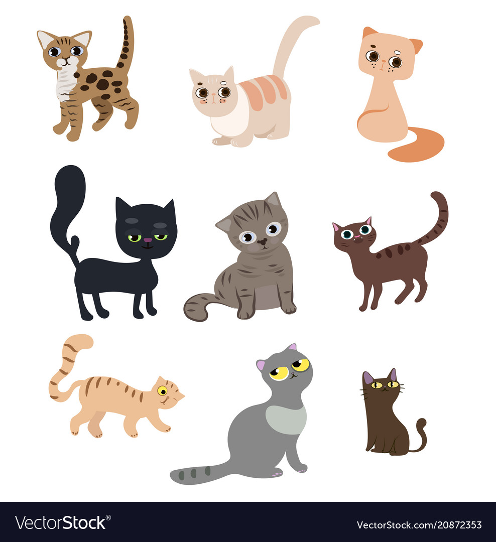 Set of cute funny cats vector image