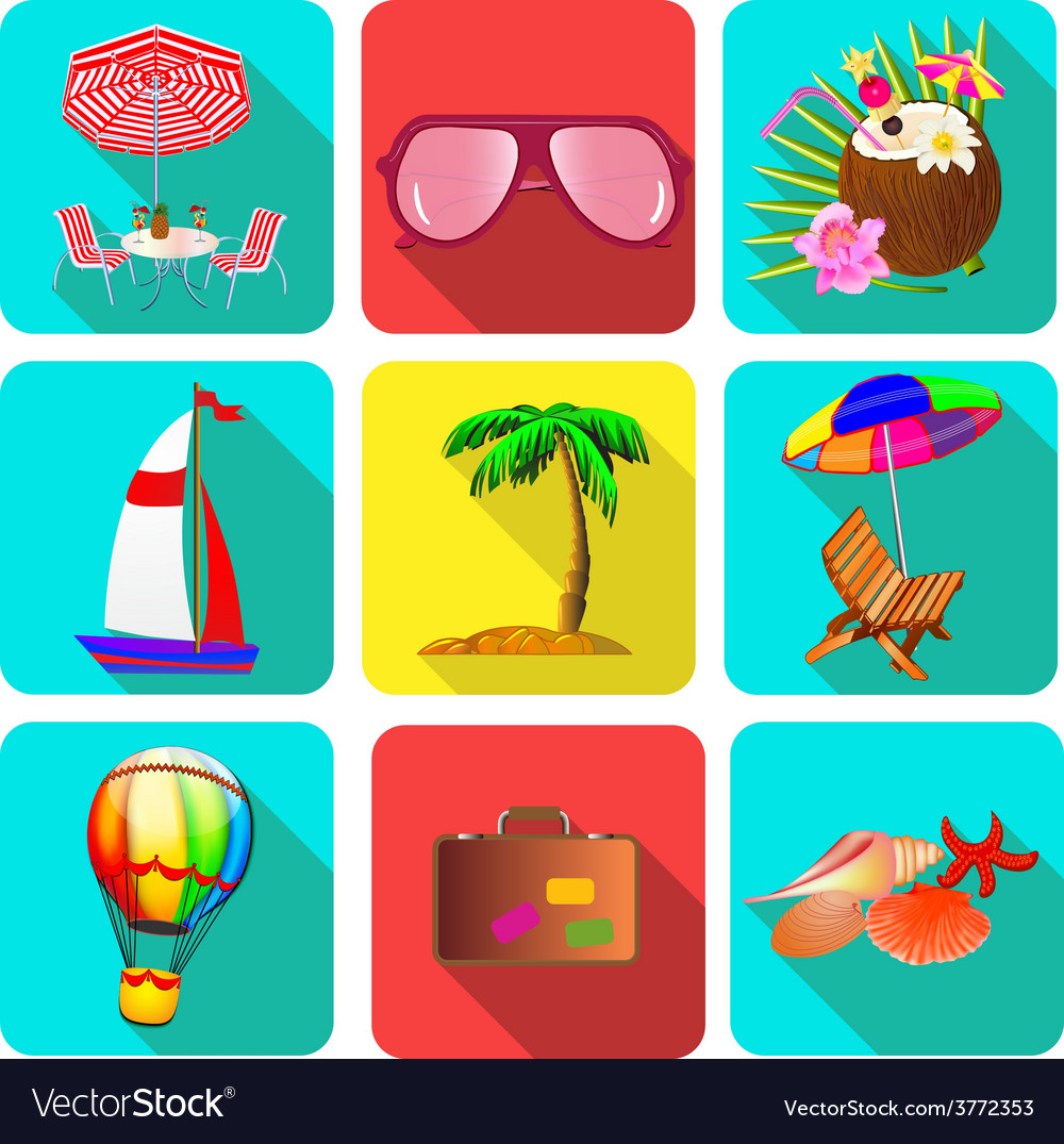 Set of icons on a theme vacation with sunglasses