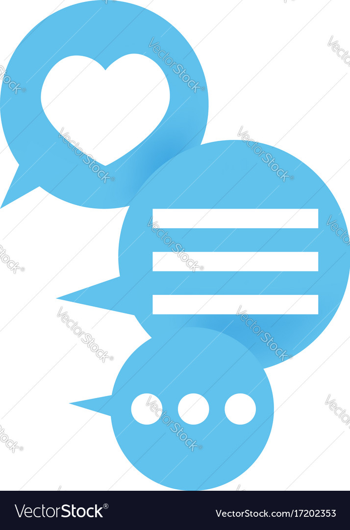 Three blue icons with message and like