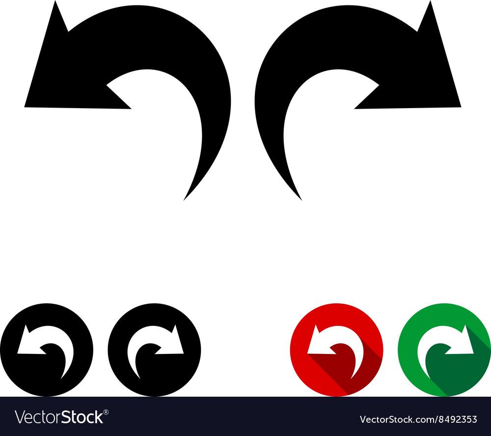 undo and redo arrows black icon set royalty free vector