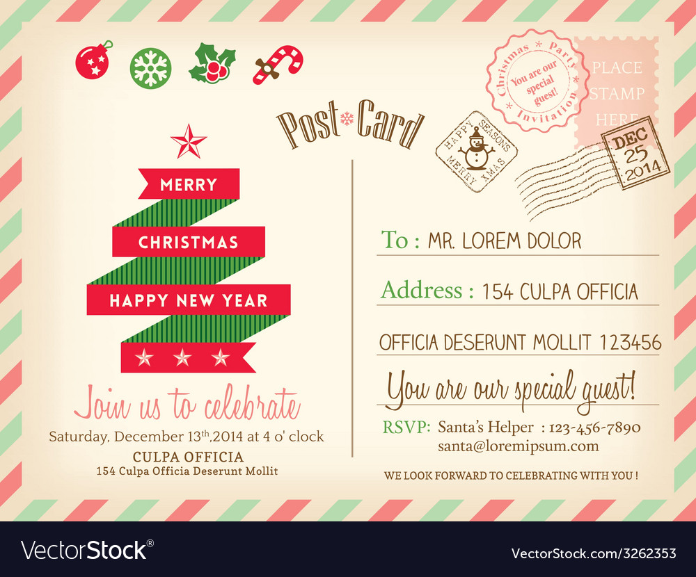 vintage merry christmas postcard background vector image