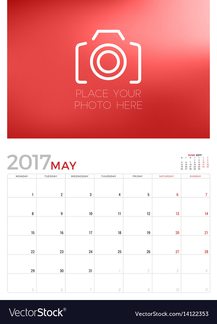 wall calendar planner template for may 2017 week vector image