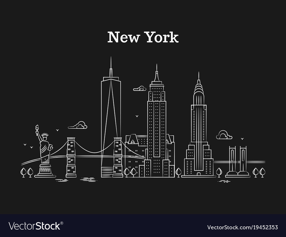 White linear new york panorama with bridges vector image
