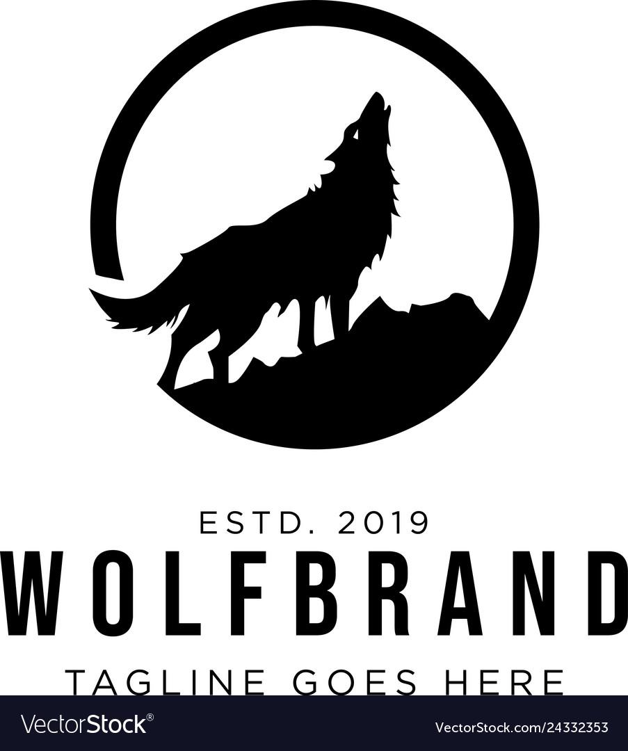 Wolf howling logo design