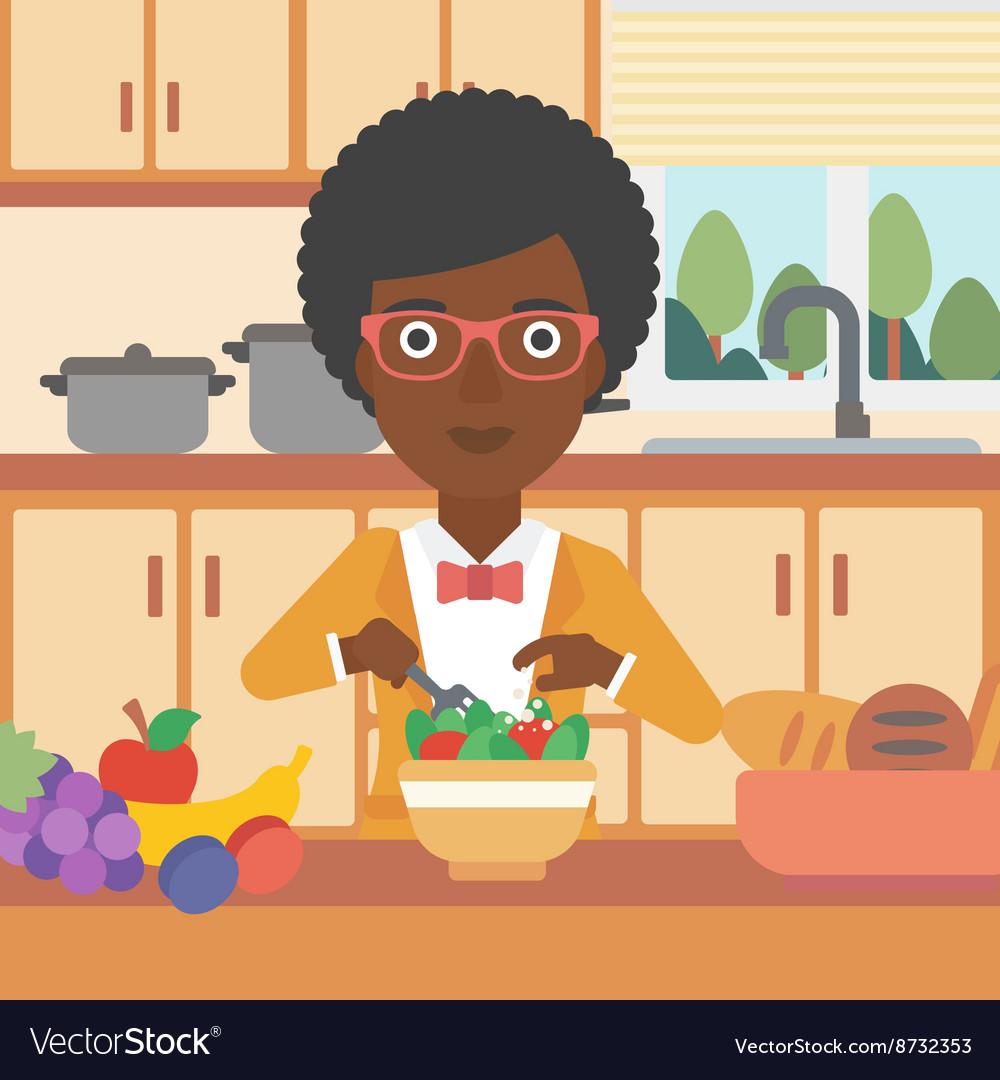 Woman cooking vegetable salad