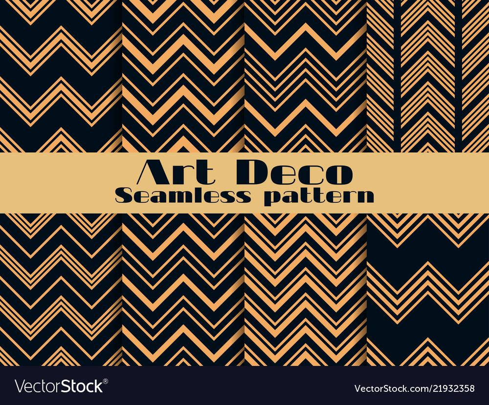 Art deco seamless pattern set retro backgrounds