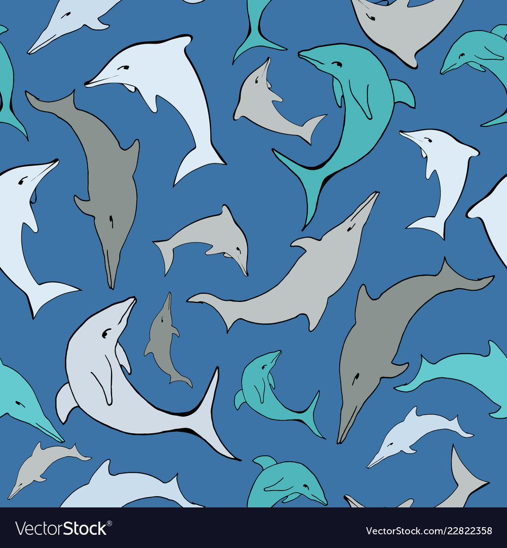 Blue sea dolphins seamless pattern