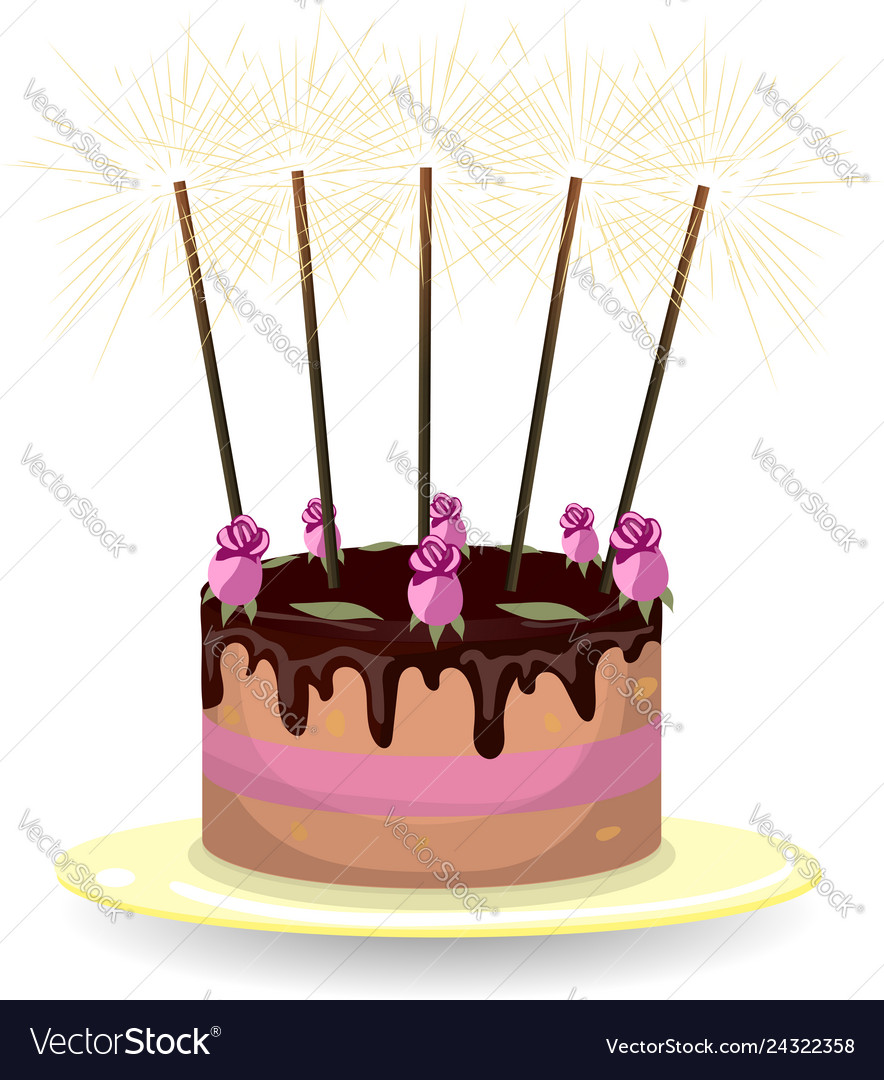 Awe Inspiring Cake With Roses And Sparklers Royalty Free Vector Image Funny Birthday Cards Online Fluifree Goldxyz