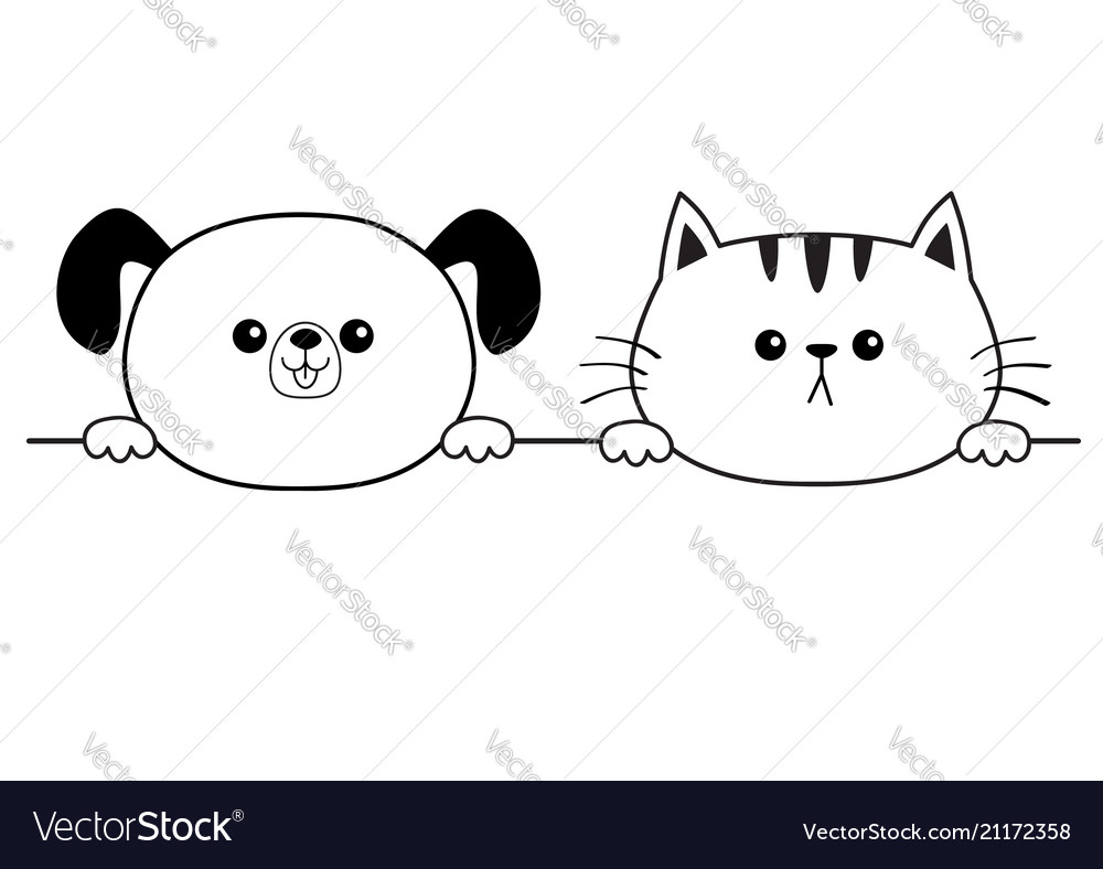 Cat dog happy face head icon hands paw holding
