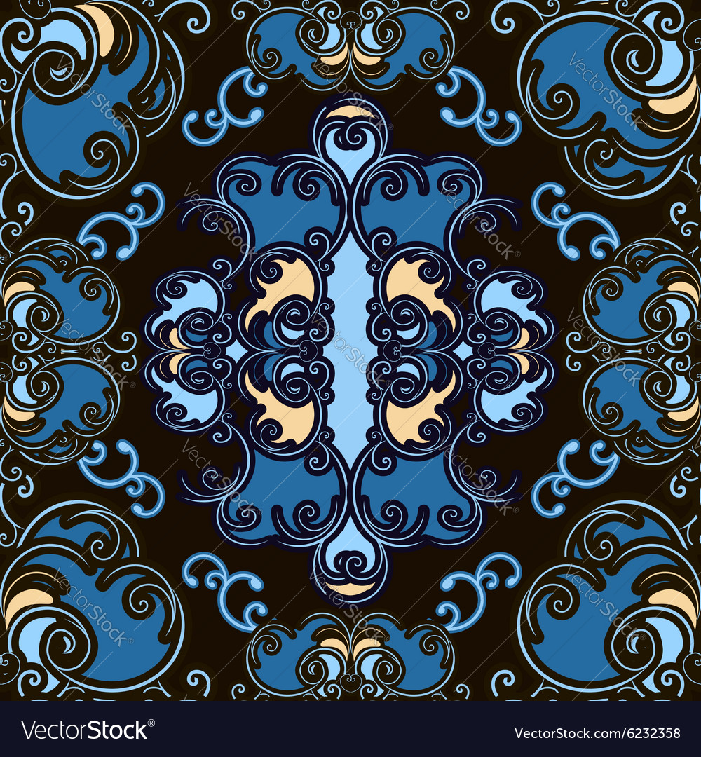 Colored ornamental seamless pattern