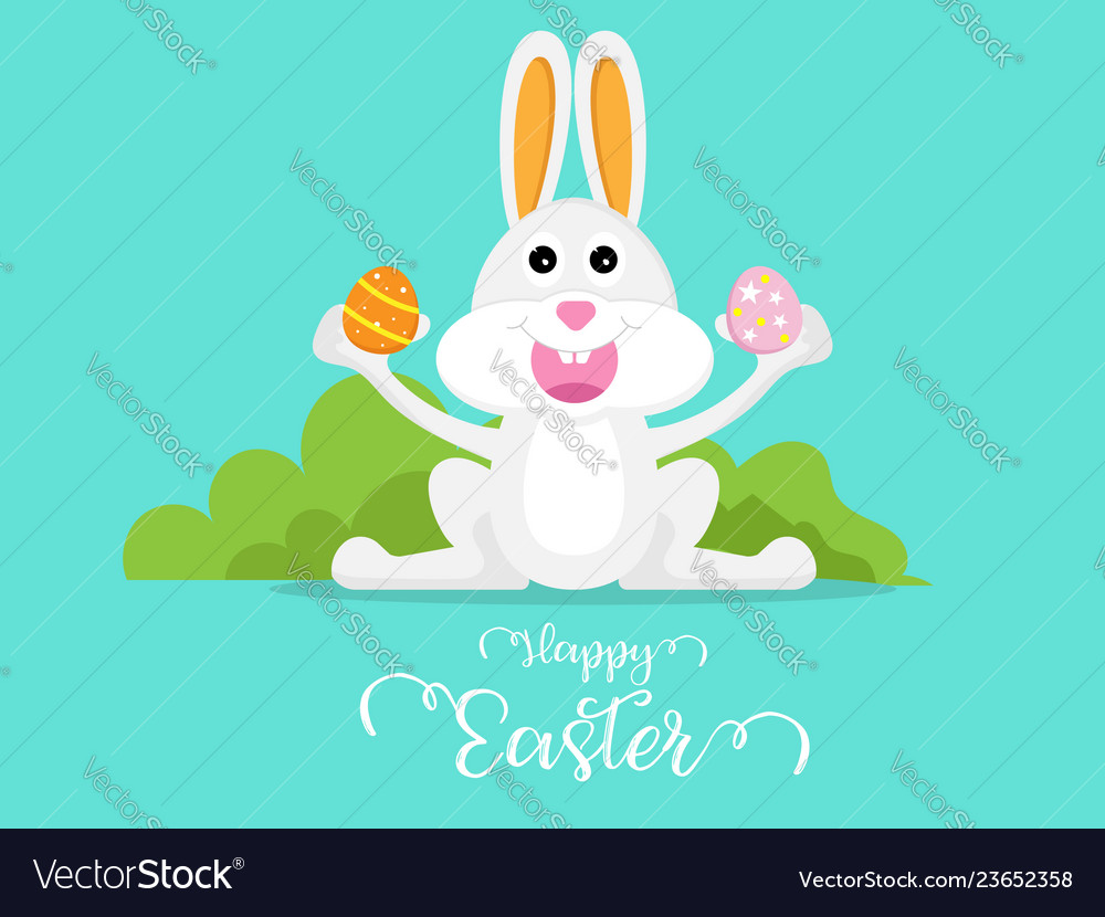 Cute rabbit with easter egg happy easter day