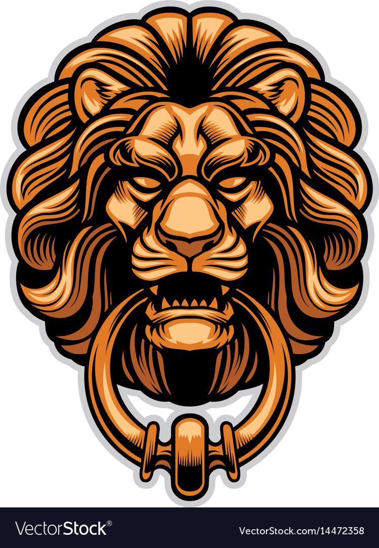 Genial Decoration Of Lion Door Knocker Vector Image