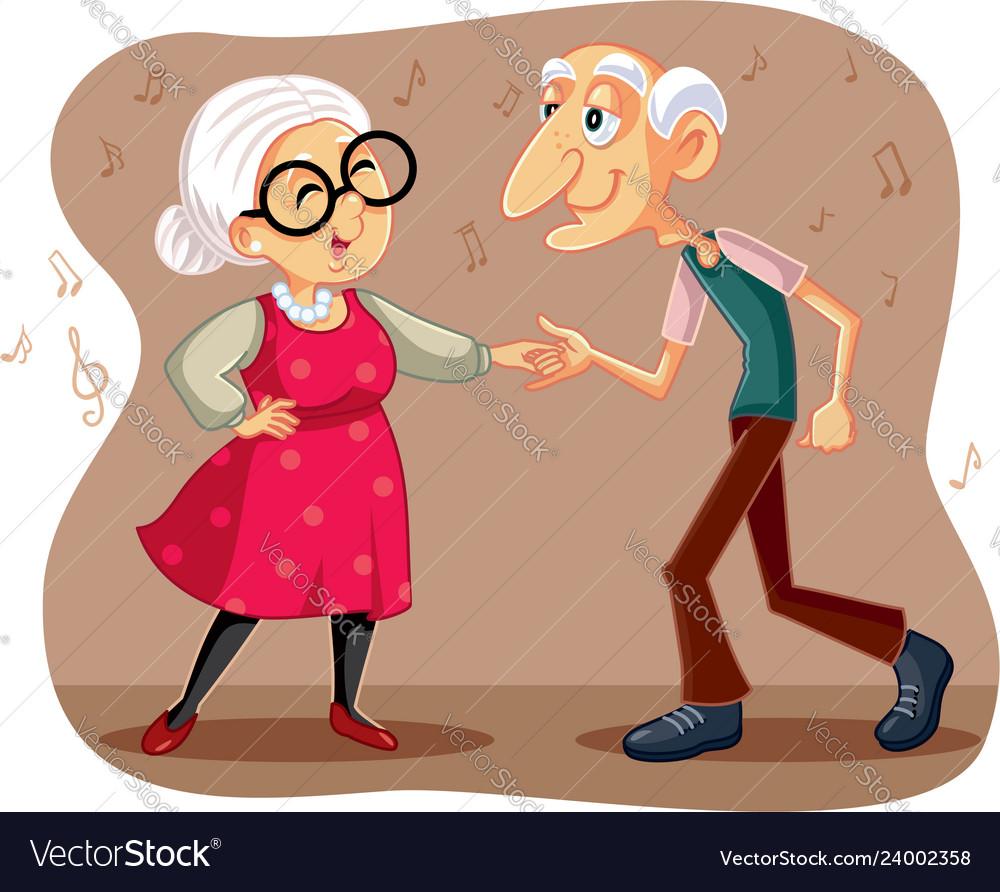 Funny elderly couple dancing cartoon