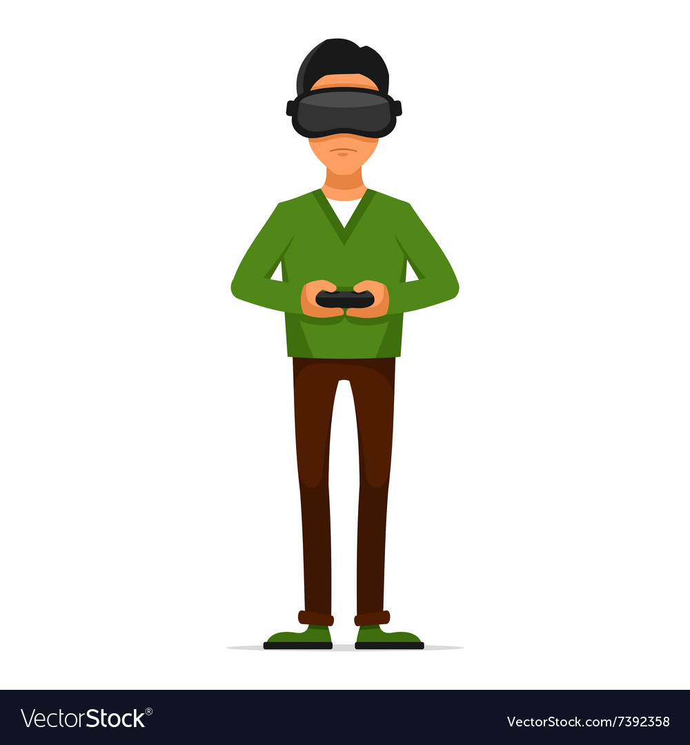 Gamer with Gamepad and Virtual Reality Headset