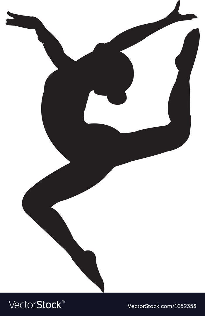 gymnastics girl silhouette royalty free vector image