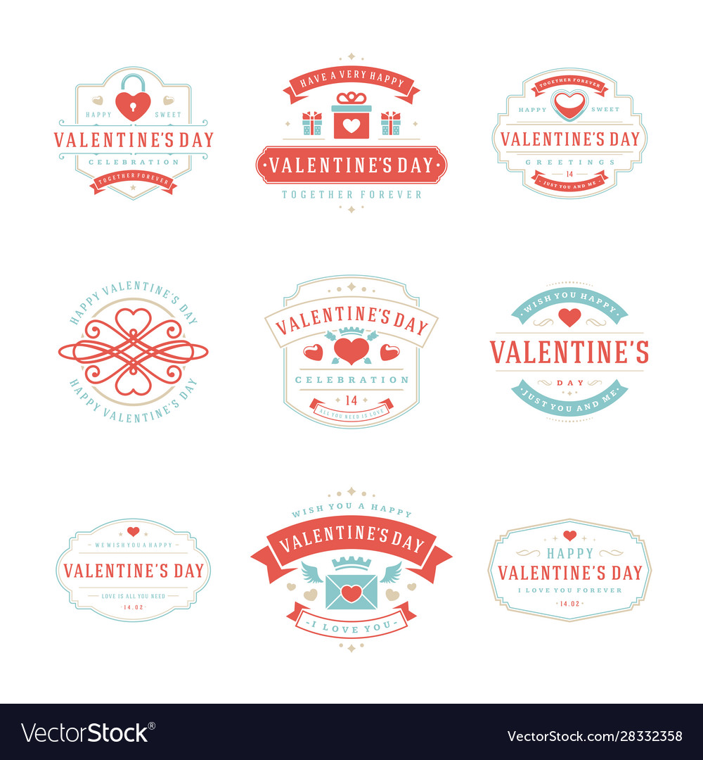 Happy valentines day greetings cards and badges