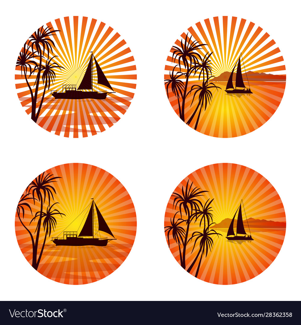 Icons with palms and ships