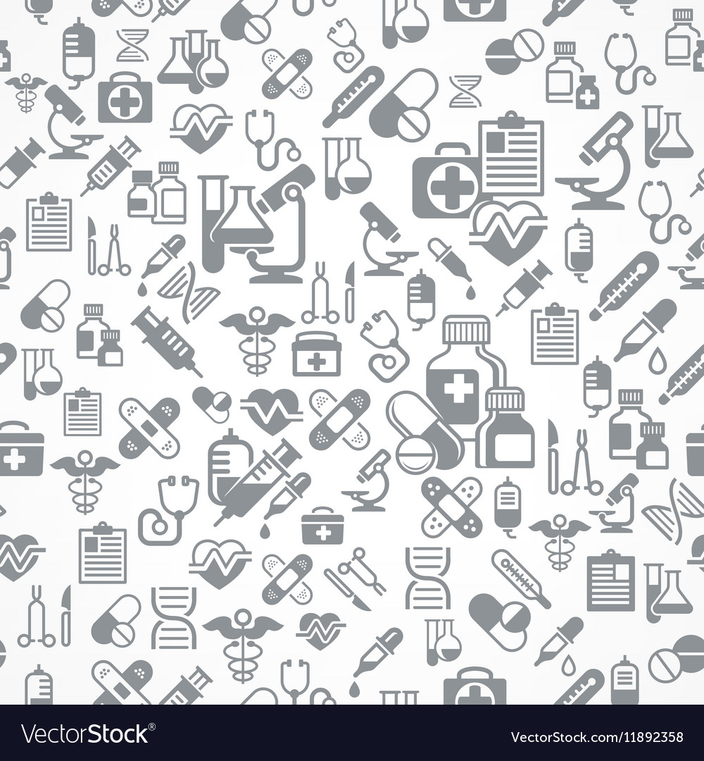 Medical background in grey vector image