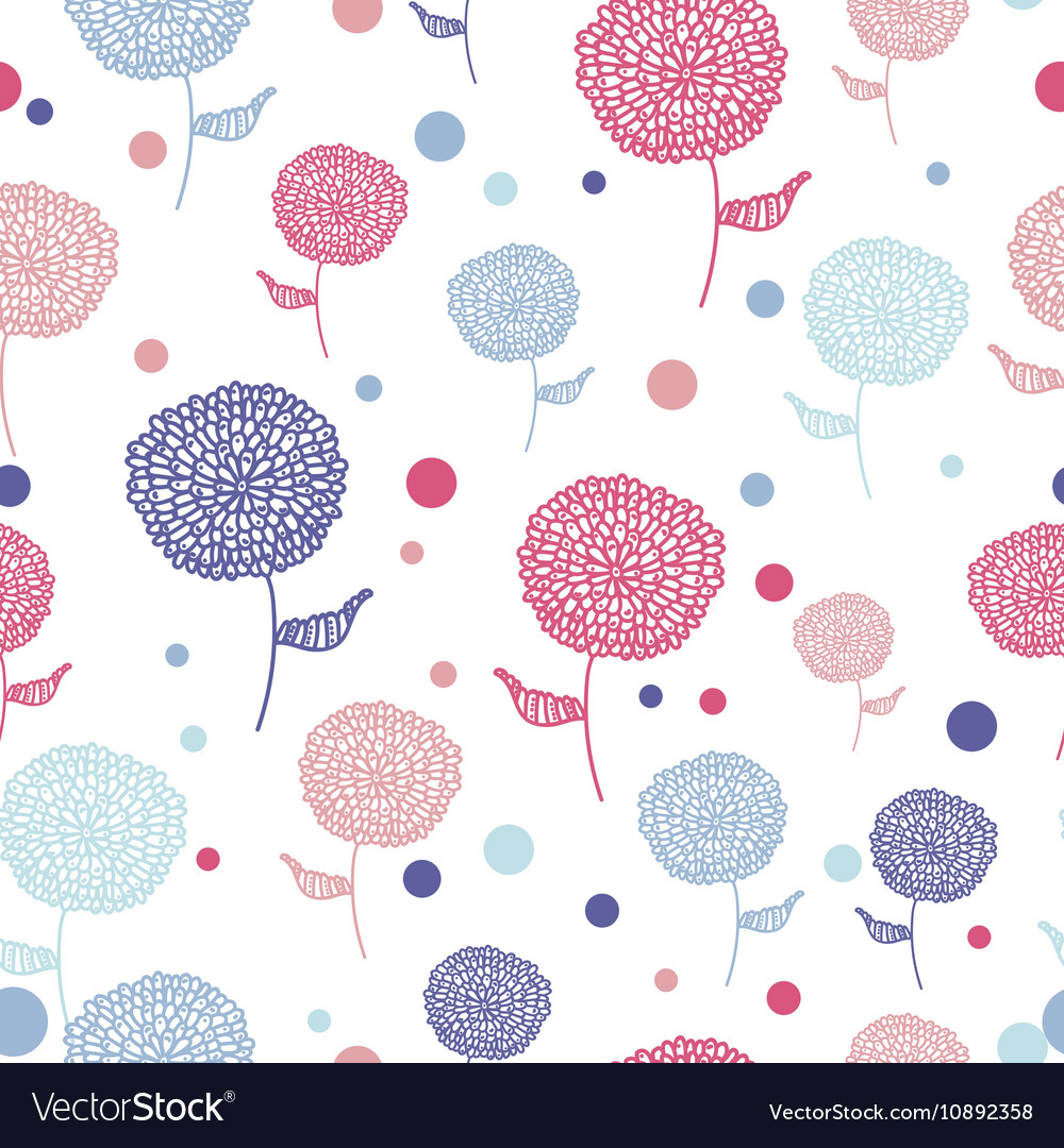 Seamless flower pink blue doodle background vector image