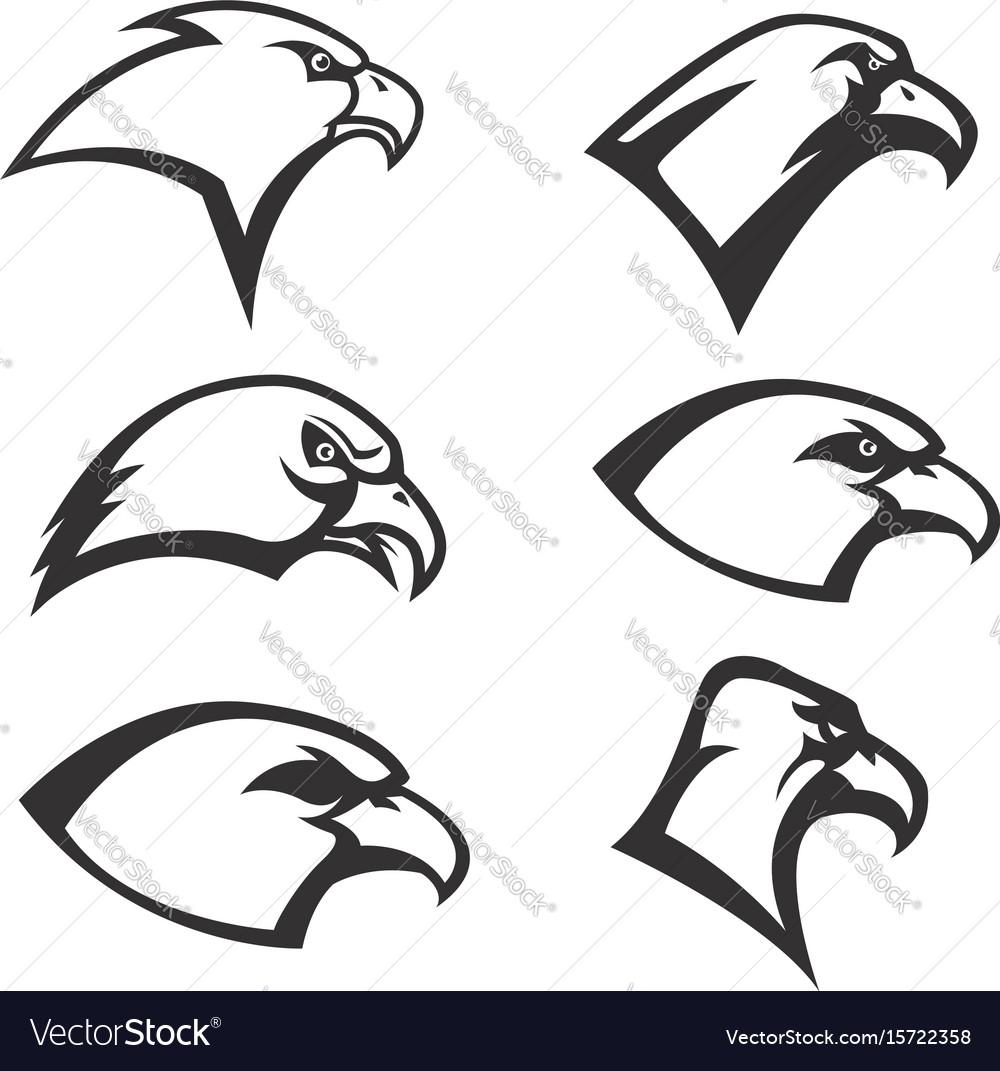 Set of eagle heads icon isolated on white