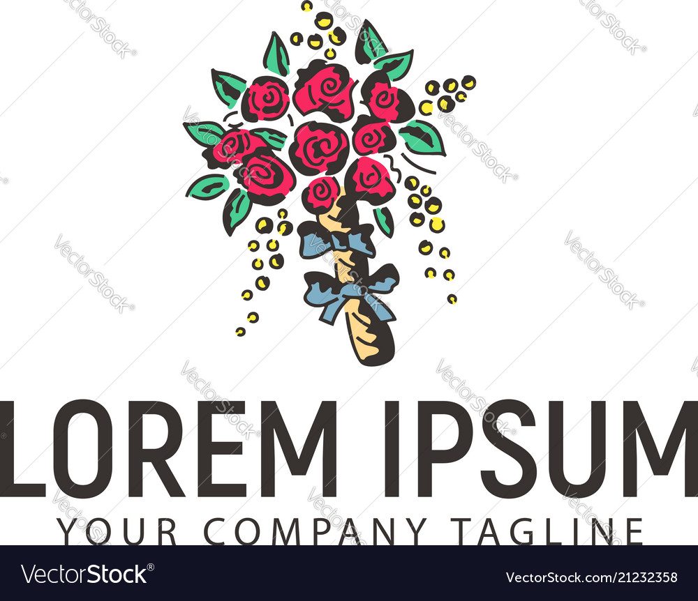 Wedding flowers logo design concept template
