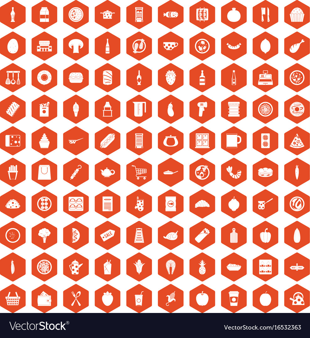 100 lunch icons hexagon orange vector image