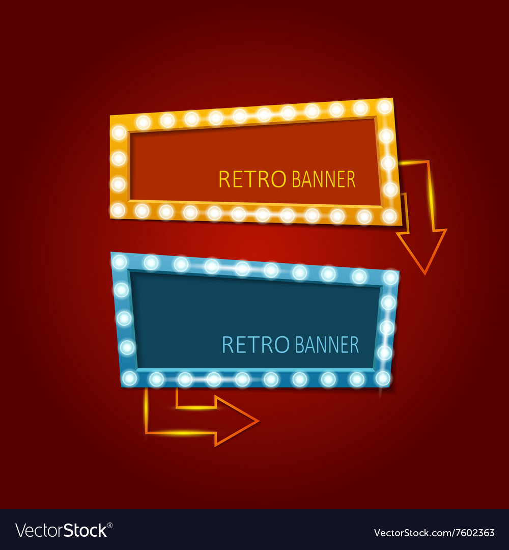 Bright retro banners with light effects