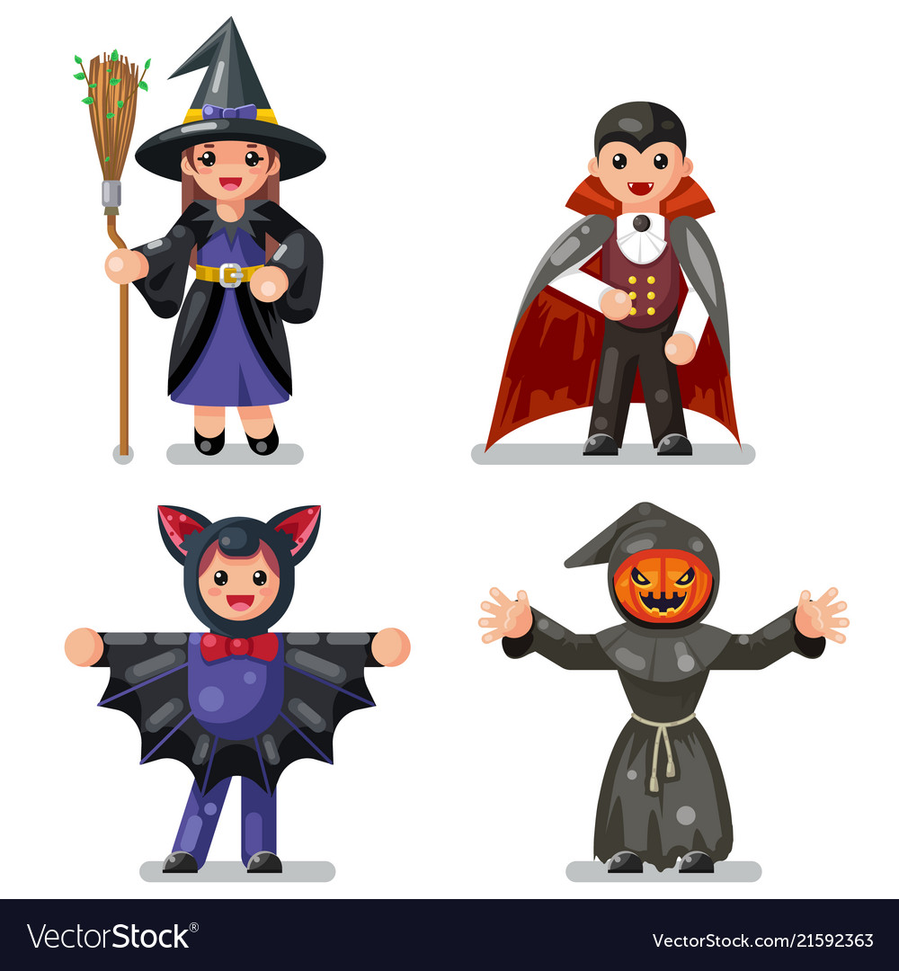 Costume halloween children masquerade party kids vector