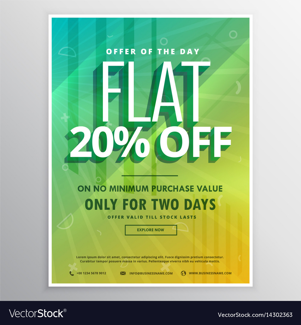 discount and sale brochure flyer poster template vector image
