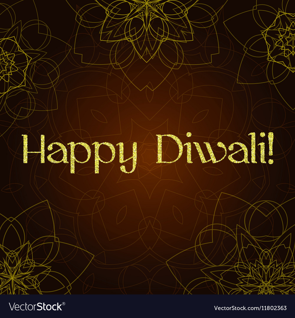 Diwali festival greeting card with gold glitter vector image m4hsunfo