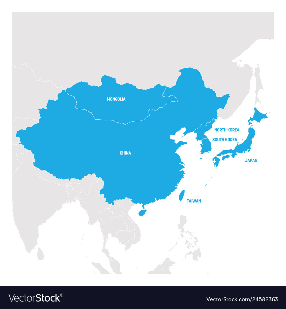 Map Of East Asia Countries.East Asia Region Map Of Countries In Eastern Asia
