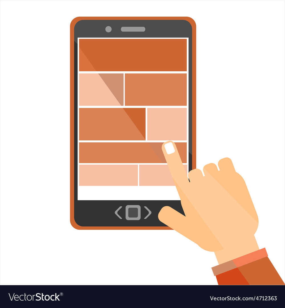 Hand browsing internet using tablet vector image