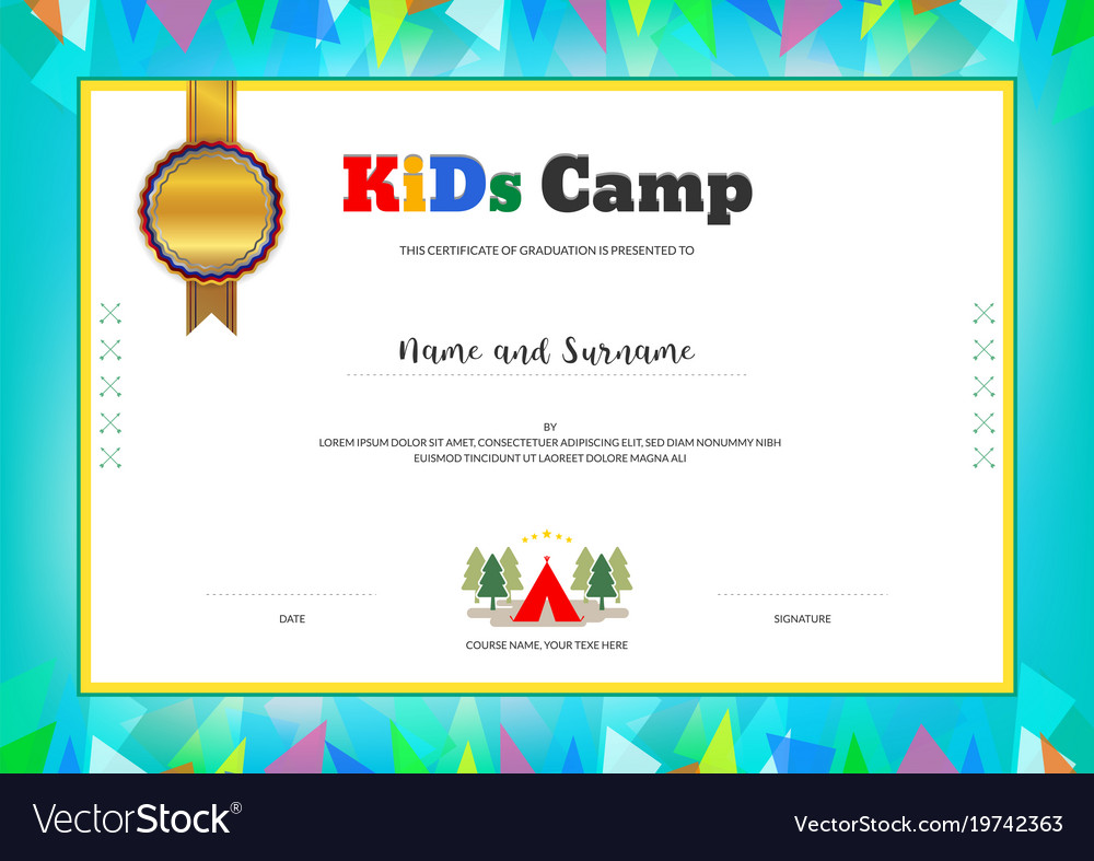 Kids Summer Camp Diploma Or Certificate Template Vector Image On Vectorstock