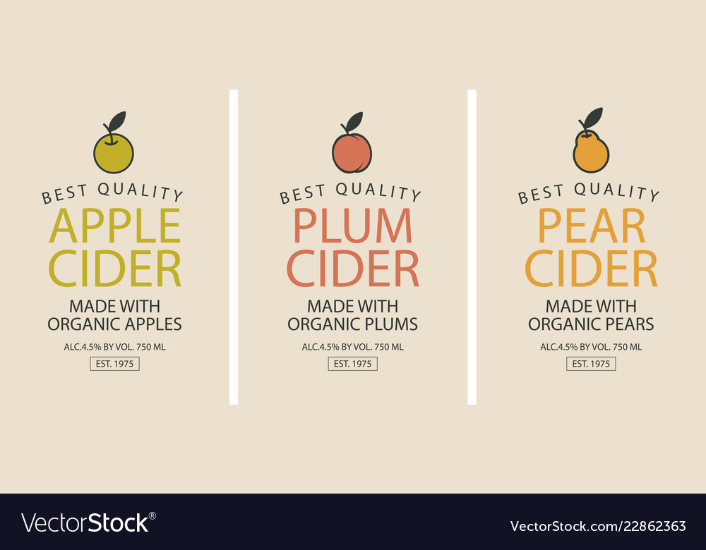 Labels for cider with apple plum and pear