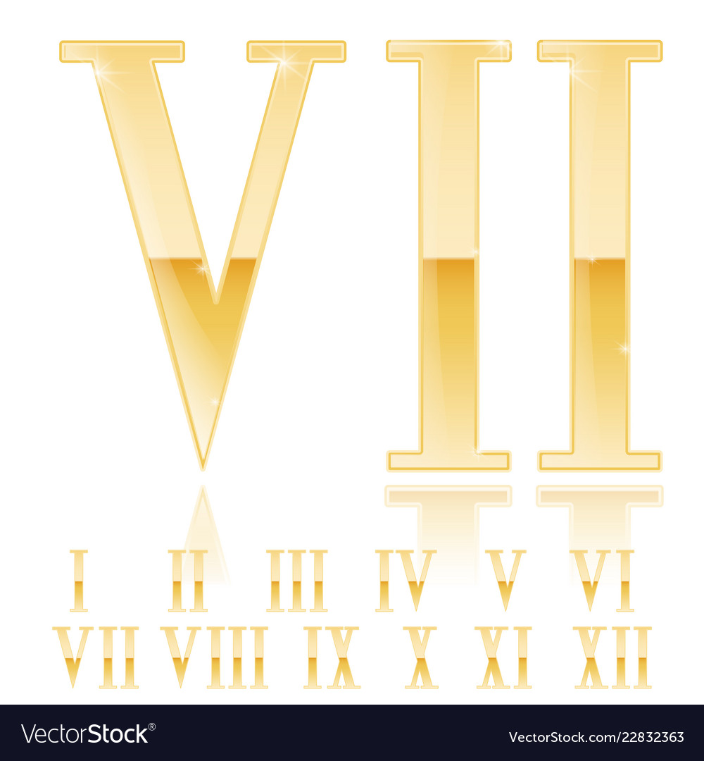 Roman Numeral Seven Golden 3d Sign Royalty Free Vector Image