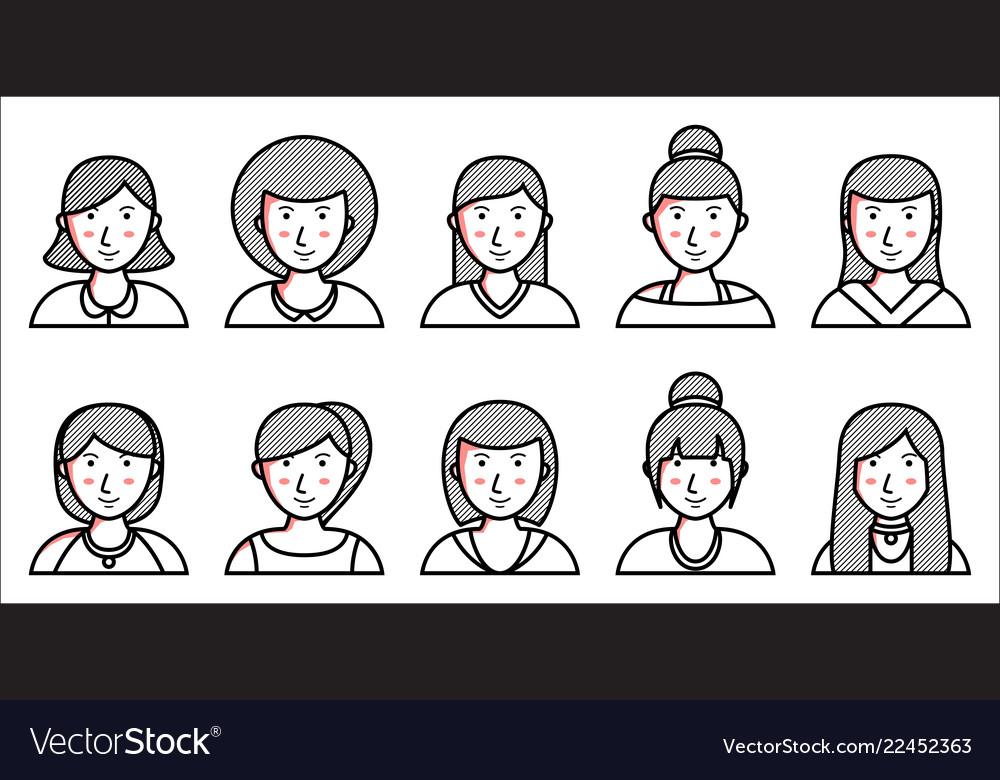 Set of women icons on white background