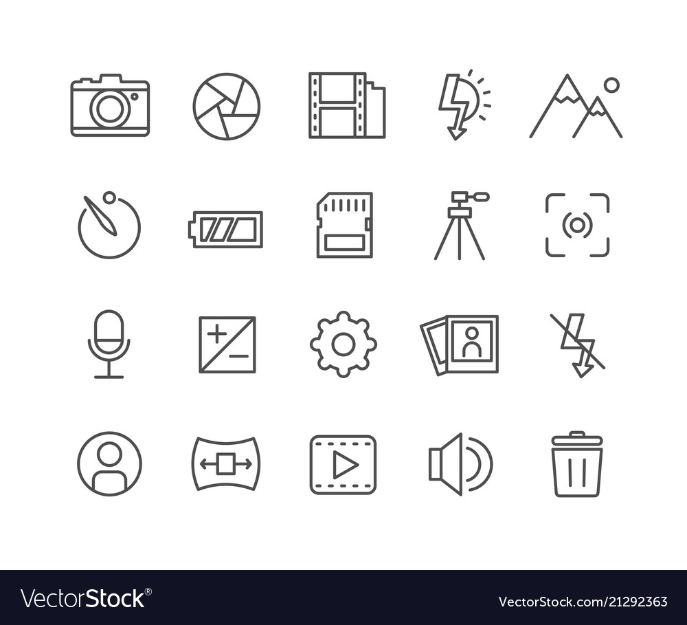 Simple set of camera thin line icons