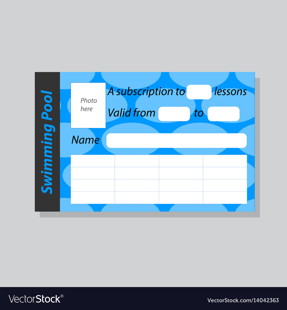 The of a season ticket for the pool vector image